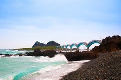 Free Black Rocks Beach And Sanxiantai Bridge, Taitung, Taiwan. Stock Photography - 97743852