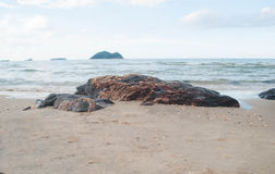 Black rocks formed by water and waves' erosion, on Samil Royalty Free Stock Photos