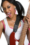 Black Rockstar. Beautiful black rockstar holding guitar Royalty Free Stock Image
