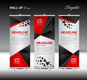 Black Roll Up Banner template vector illustration polygon backgr Stock Photo