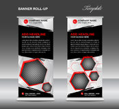 Black Roll up banner template vector, roll up stand, banner royalty free illustration