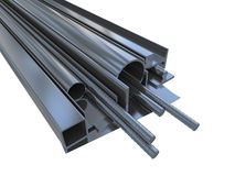 Black rolled metal products Stock Photography