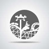 Black roller coaster icon or amusement ride icon. On a grey background Royalty Free Stock Image