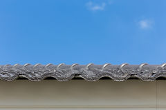 Black roof tiles on house Royalty Free Stock Photo