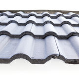 Black roof tiles on new house. Isolated on white background Royalty Free Stock Photography
