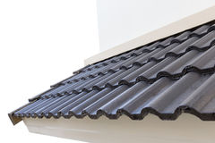 Black roof tiles on new house Stock Image