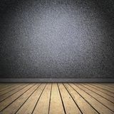 Black room with wooden floor Stock Images