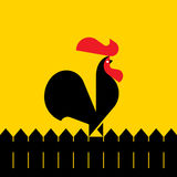 Black rooster on a fence. Vector illustration Royalty Free Stock Image