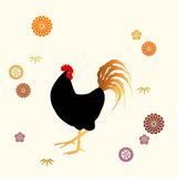 Black rooster and flower patterns Stock Photos