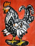 Black rooster - gouache painting made by child royalty free stock photography