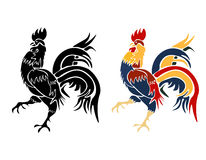 Black and roosters painted on a white background isolated. 2017 fiery red rooster. illustration. Black and roosters painted on a white background isolated. 2017 Stock Image