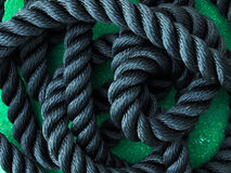 Black Rope. In closeup detail Stock Photo