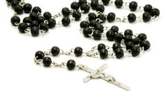 Black rosary isolated Stock Images