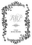 Black rose frame. Ornamental frame with roses. Solemn floral element for design banner,invitation, leaflet, card, poster and so on. Wedding or jubilee theme Stock Image
