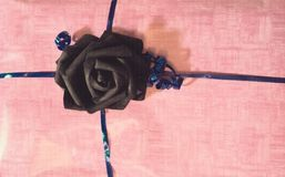 Black rose. Present background with black rose and soft pink paper Royalty Free Stock Photos