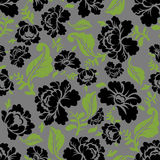 Black Rose seamless pattern. Retro floral texture. Vintage Flora ornament. Floral background. Dark colors. Traditional Russian ornament Royalty Free Stock Image
