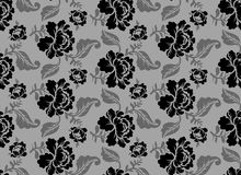 Black Rose seamless pattern. Retro floral texture.  Royalty Free Stock Photography