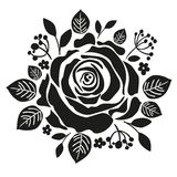 Black rose silhouette - freehand on a white Royalty Free Stock Photo