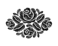 Black roses embroidery on white background. ethnic flowers neck line flower design graphics fashion wearing.  Stock Photo