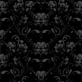 Black roses seamless pattern. Vector dark black floral backgroun. D wallpaper illustration with vintage 3d blossom roses flowers, leaves and flourish ornaments Royalty Free Stock Photo