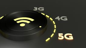Black rotary know with yellow glowing LEDs turned to 5G Royalty Free Stock Images