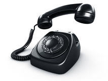 Black rotary phone. 3d rendering of an old vintage rotary phone in black Royalty Free Stock Photo