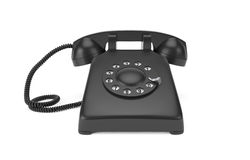 Black rotary phone isolated on white Royalty Free Stock Image