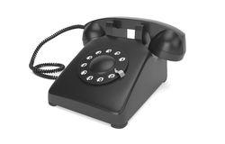 Black rotary phone isolated on white Royalty Free Stock Photos