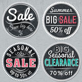 Black round banners with sale offer, vector Royalty Free Stock Photo