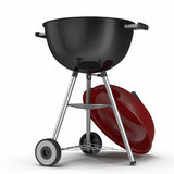 Black round barbecue appliance with a red cover isolated on white. 3D Illustration, clipping path. Black round barbecue appliance with a red cover isolated on Royalty Free Stock Photo