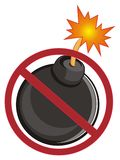 Bomb on ban. Black round bomb on red ban Stock Image