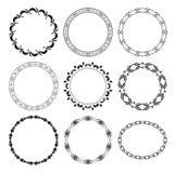 Black round decorative frames - set Royalty Free Stock Photo