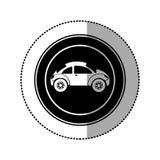 Black round emblem side sport car icon. Illustration design Stock Image