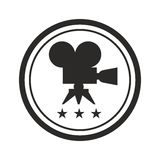 Black round film award. Film Award for the best film in the form of logo with camera and laurel branch. Movie Theater, Cinematic Award, Movie Premiere. Flat Stock Image