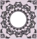 Black round frame on pink Stock Photos