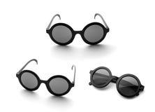 Black round glasses isolated on white Stock Photo