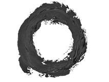 Black round grunge brush strokes oil paint isolated Stock Images