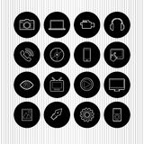 Black round icons Royalty Free Stock Photography