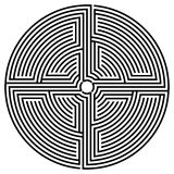 Black round labyrinth. Vector spiral optical illusion in white background Royalty Free Stock Photo