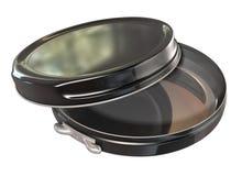 Black Round Metal Tin Open Stock Photography