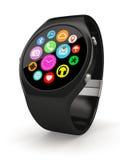 Black round smart watch on white background Royalty Free Stock Photo