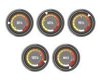 Black round speedometer with colorful indicator of speed increase royalty free illustration