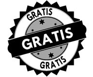 Black round stamp with GRATIS text. Illustration Stock Photo