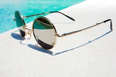 Black round sun glasses Royalty Free Stock Photos