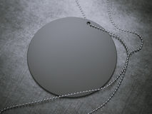 Black round tag with silver chain. 3d rendering Stock Photos