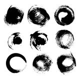 Black round textured strokes set Royalty Free Stock Images