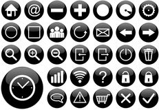 Black round web button set Stock Photos