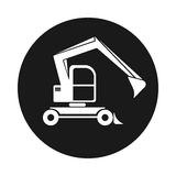 Black round web icon excavator with bucket. Building vehicles Stock Photo