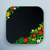 Black rounded square icon with floral ornament Royalty Free Stock Photography