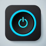 Black rounded square icon with power button royalty free illustration